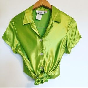 Vintage 90s silky satin chartreuse green top
